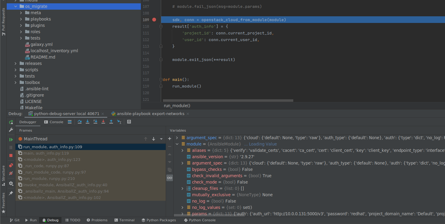 Step through and into your code in the Pycharm debugger interface