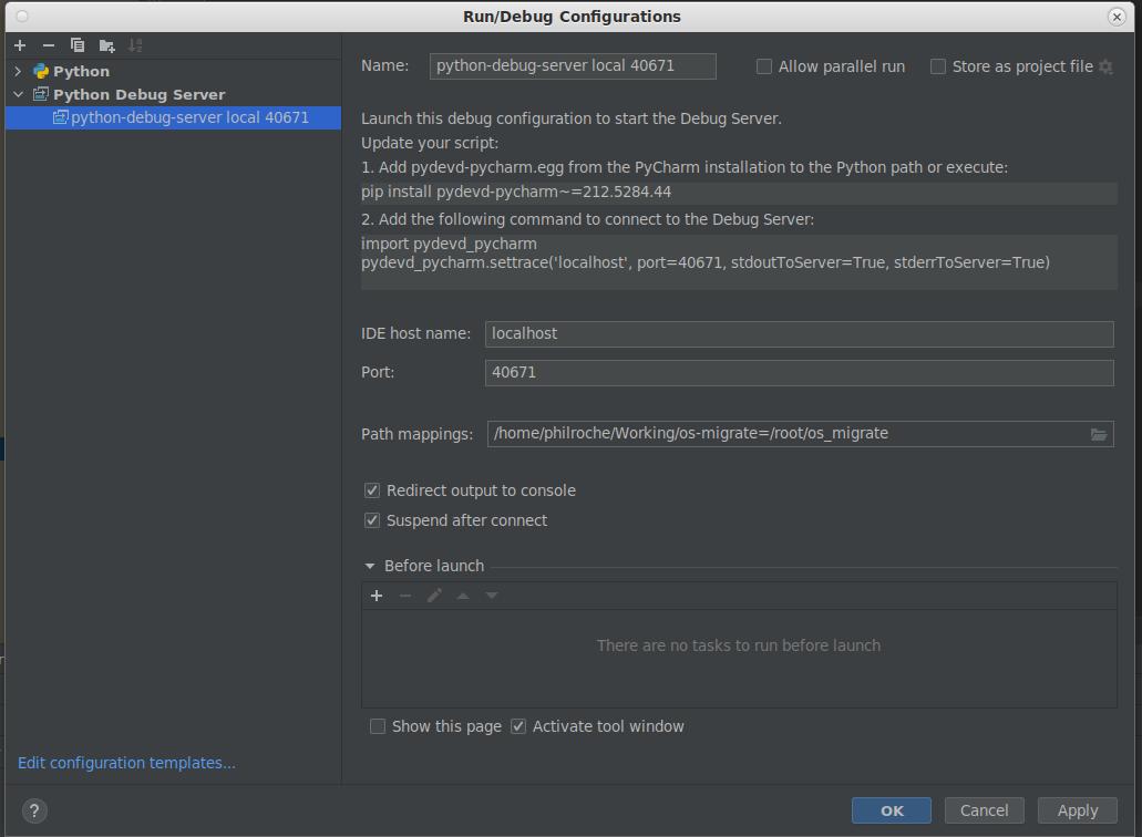 a Run/Debug configuration to start the debug server